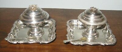 Vintage Egyptian <Sterling Silver Pair of Lidded Salt Cellars Trays Spoons Marks
