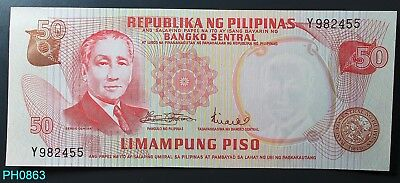 PHILIPPINES 50 Piso (1969) Serial # Y982455 CRISP UNCIRCULATED Free Shipping