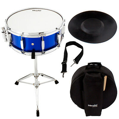 Mendini Student Blue Snare Drum Set with Gig Bag+Sticks+Stand+Practice Pad Kit