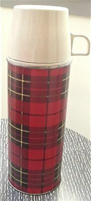 Vtg 1964 King Seeley Scotch Plaid Thermos #2242 Beige Lid Glass Lined