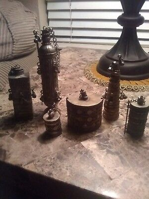 Lot Of 6 Unique Antique Persian Vintage Silver Perfume Bottle,