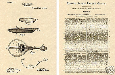Gibson MANDOLIN US Patent Art Print READY TO FRAME 1898 Orville guitar