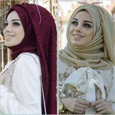 Fashion Women Plain Bubble Gold Strip Islamic Muslim Hijab Lady Wrap Shawl Scarf