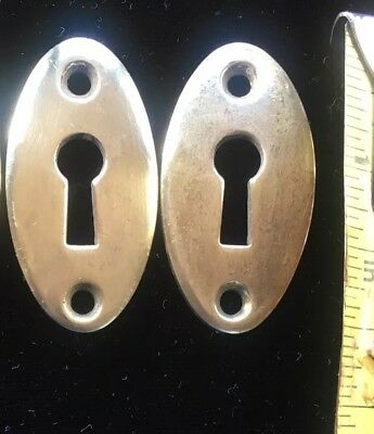 (2) Two OVAL CAST BRASS SKELETON KEY HOLE COVER PLATE BUFFED CLEAN