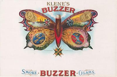 Klene's Buzzer Vintage Embossed Inner Cigar Box Label H A Klene Quincy, Illinois