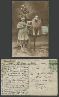 Collie Dog Puppy Little Girl Children Flowers 1914 Old Real Photo Color Postcard