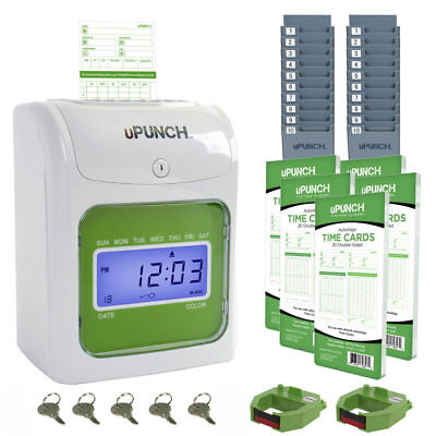 uPunch Time Clock Bundle with 100 Cards, 2 Ribbons, 2 Time Cards Racks, 5 Keys