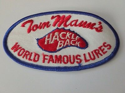 "Tom Mann Hackle Back Fishing Tackle Patch Excellent Condition 4 3/4"" X 2 1/2"""