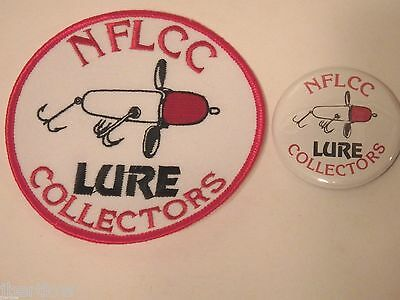 Vintage NFLCC Fishing Lures Old Wood Spinning Lure Patch & Pin / Button