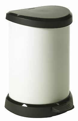 20 L Metal Effect Plastic Pedal Touch Deco Bin, Ivory