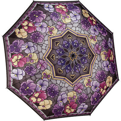 Galleria Stained Glass Pansies Folding Umbrella Umbrellas and Rain Gear NEW