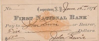 FIRST NATIONAL BANK of COOPERSTOWN, NY 1878    REVENUE STAMP PRINTED ON CHECK
