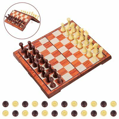 Magnetic Chess Set, 2 in 1 Chess and Draughts Set Chess Game Set Folding Chess B