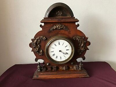 Lovely Early Mantel Clock With Ceramic Face And Gilt Decoration