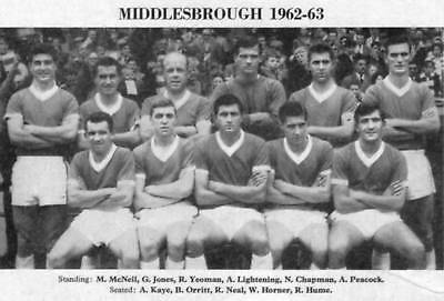 Middlesbrough Football Team Photo>1962-63 Season