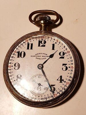 HAMILTON  ELECTRIC RAILWAY Special  Pocketwatch 17 Jewel 974 mvmnt Pocket Watch