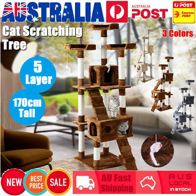 Multi Cat Scratching Post Tree Tower Scratch Pole Toy House Ladder  Furniture AU
