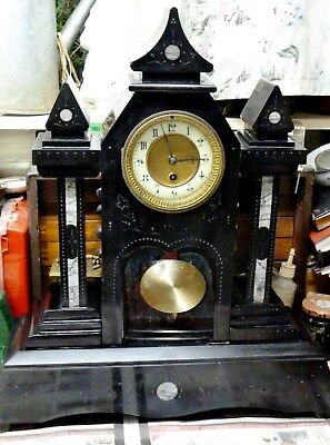 large victorian slate marble clock gothic 8 day french clock movement 1890s  old