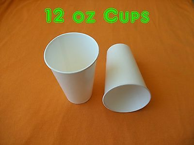 12 oz. White Paper Cups with Poly Coating ~ Case of 1000 ~ FREE SHIPPING
