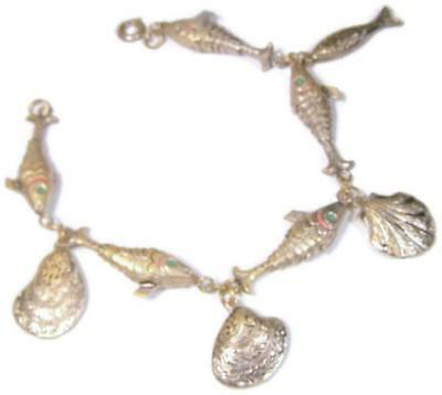 Charm Bracelet Antique Chinese Gilt Silver Articulated Fish & Enamel Clam Shells
