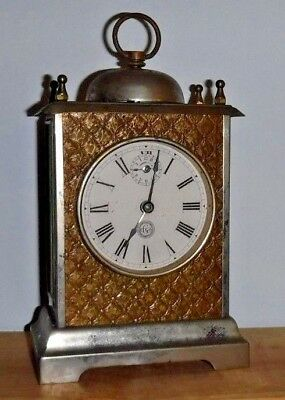 Antique Gilbert Outside Bell Carriage Clock Working + Alarm Winsted Conn. W/ Key