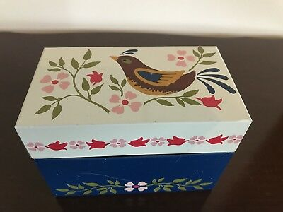 Vintage Ohio Art Recipe Box Metal Flowers  Partridge Bird Floral 3x5 Multi Color