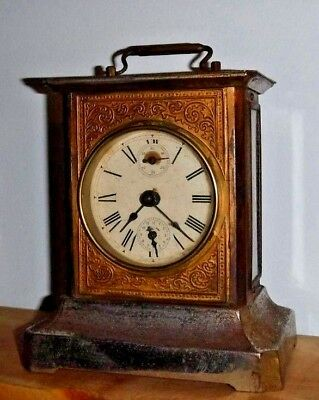 Antique Musical German Carriage Clock Mauthe? Working + Alarm Germany With Key
