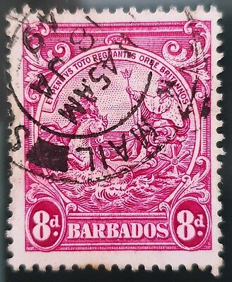 Barbados 1946 Sc # 199a Red Violet 8d Used NH Stamp Lot #3