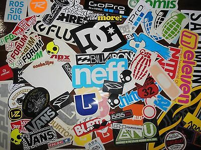 Snowboard Stickers 14 Pack brands like Burton DC 32 Forum Vans Nitro Grenade Gnu