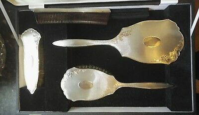 Vintage Antique Style Solid Hallmarked Silver cased 4 piece grooming Vanity set