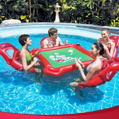 Inflatable Floating Table and 4 Chairs Set for Texas Holdem