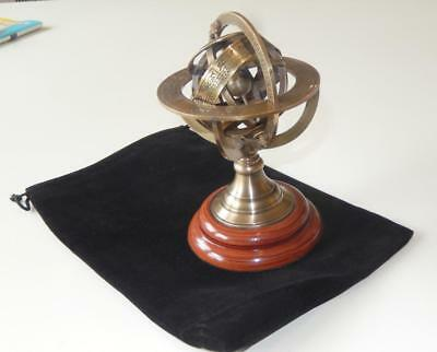 Antique Style Brass And Wood Astrological Armillary Desktop  Velvet Pouch