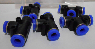 """Lot of 5 TPM Pneumatic Tee Union Connectors OD 1/4"""" 6mm Push In Air Fittings"""