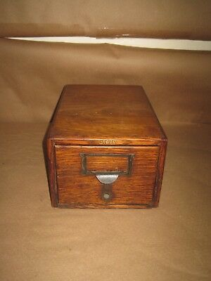 "Antique Library Oak File Card Cabinet 12"" x 8"" x 6"" Collectors Cabinet"
