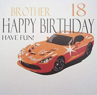 Xn75-18 Large  orange Sports Car, Brother 18 Happy Birthday Have Fun!  Handmade