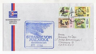 1980 MALAYSIA Cover PENANG to BEVERUNGEN GERMANY Butterflies Issues