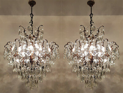 A Pair of Antique Spider Style Cast Brass & Crystals Chandeliers from 1950's