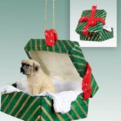 MASTIFF Christmas GREEN GIFT BOX Dog Ornament HAND PAINTED resin FIGURINE puppy