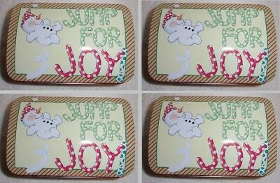 """Lot 4 Mary Engelbreit candy cookie chest tin Snowman """"Jump for Joy"""" NO PAYPAL"""