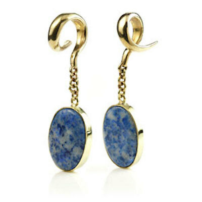 PAIR LAPIS LAZULI OVAL STONES ON BRASS EAR WEIGHTS - 6mm - 2G