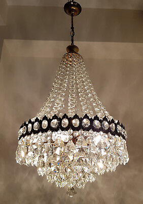 Antique French Basket Style Brass & Crystals HUGE Chandelier from 1950's