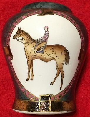 Horse Racing Small Decorative Porcelain Vase Asian Design Made in China