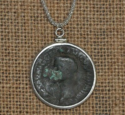 Roman Emperor Caligula Authentic Ancient Rome Coin 925 Sterling Silver Necklace