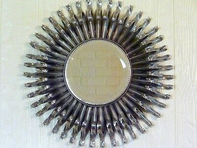 "Global Views 19"" SILVER STARBURST Sunburst DEEP WALL Mirror METAL ART SCULPTURE"