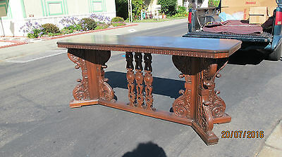Antique English Gothic Spanish Revival Hall Console Table by David Zork Studios