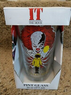 IT THE MOVIE PENNYWISE Clown 16 OZ TUMBLER PINT GLASS NEW IN BOX