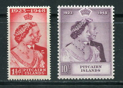 x14 - PITCAIRN ISLANDS 1948 Royal Silver Wedding Set. 1 1/2d is MNH; 10/- is MLH