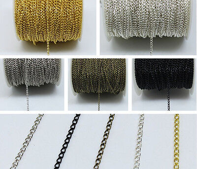 4-100 M Jewellery Making Chain - Silver Gold Metal Curb Twist Cross Chain 0.7mm