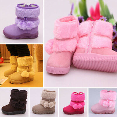 Kids Boys Girls Solid Winter Warm Thick Faux Fur Lined Winter Boots Shoes 5.5~11