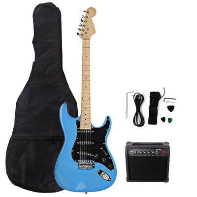 New 22 Frets ST Burning Fire Electric Guitar Sky Blue with Bag & 20 AMP